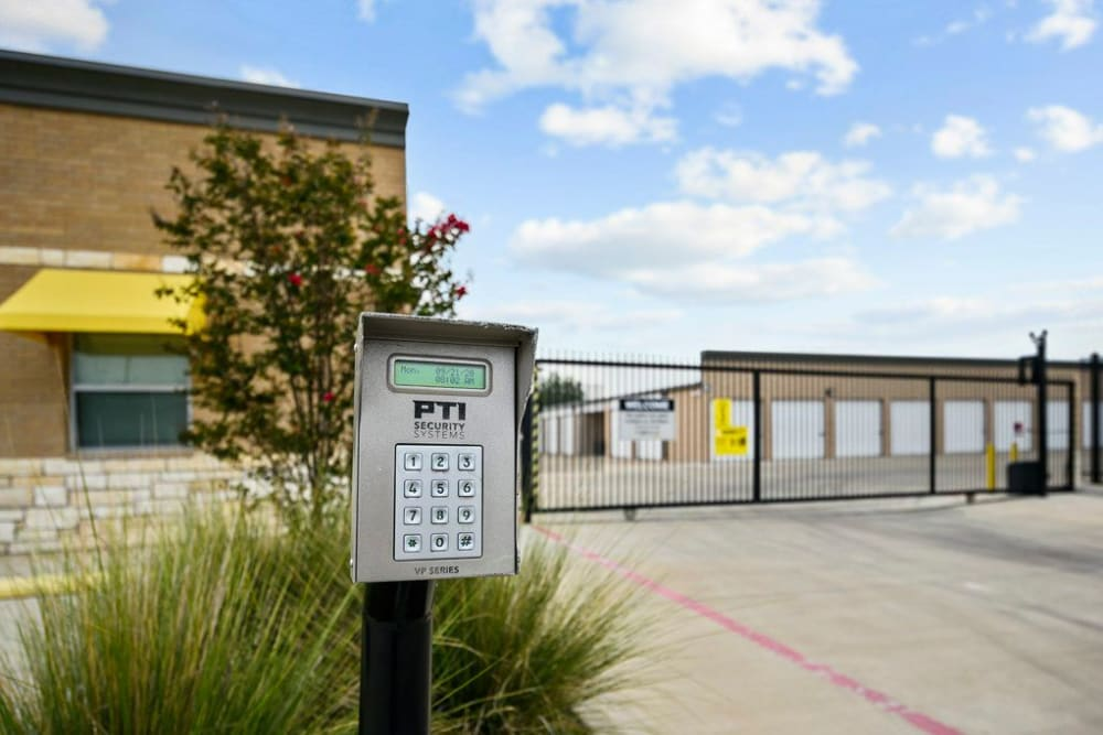 Keypad security station and entry gate at Storage 365 in Garland, Texas