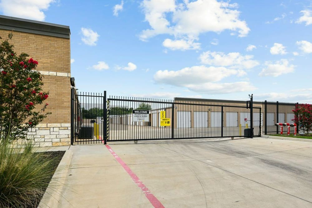 Gate entry to drive-up storage units at Storage 365 in Garland, Texas