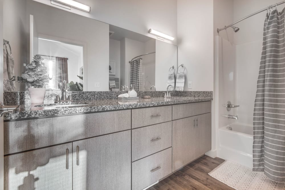Bathroom with plenty of cabinet space at Hawthorne Townhomes in South Salt Lake, Utah