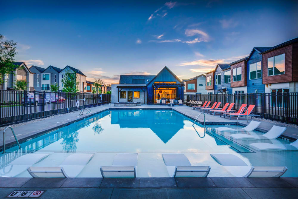 Luxury swimming pool at Hawthorne Townhomes in South Salt Lake, Utah
