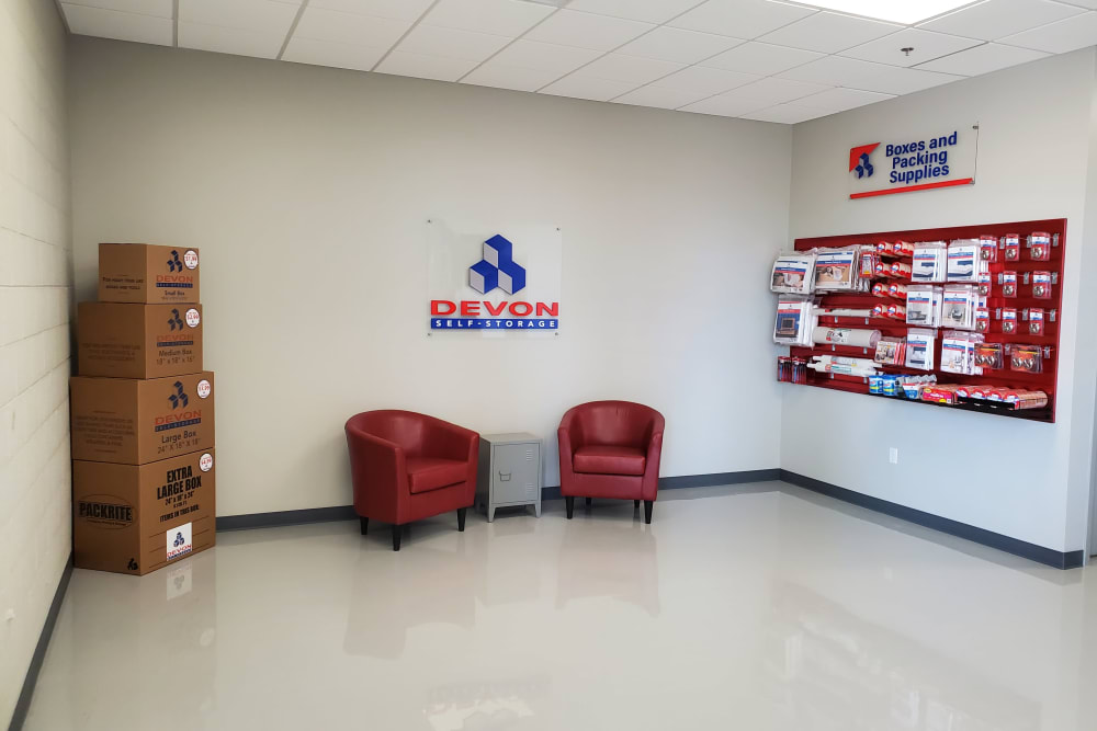 Packing and moving supplies available for purchase at Devon Self Storage in Emeryville, California