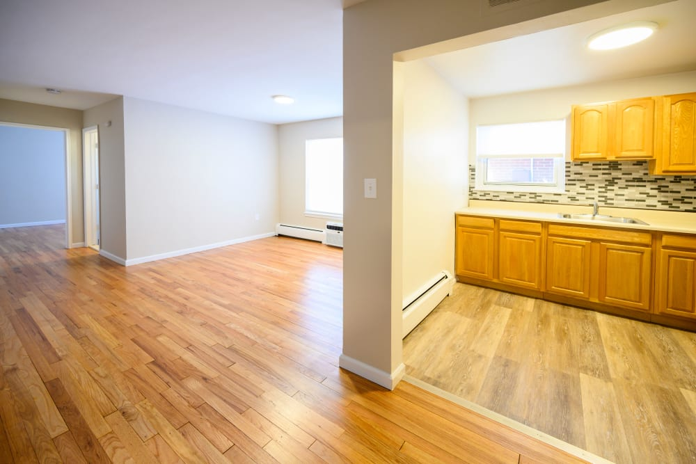 Dining and living room at Lafayette Park Apartments in Hawthorne, New Jersey