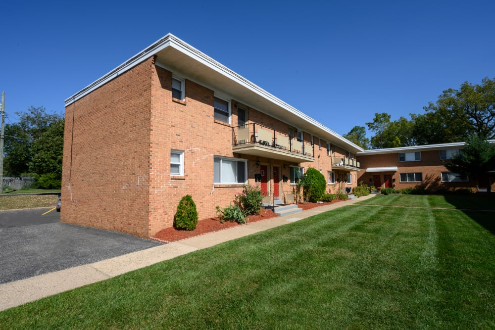 Exterior on a nice day at Alpine Court Apartments in Stratford, New Jersey