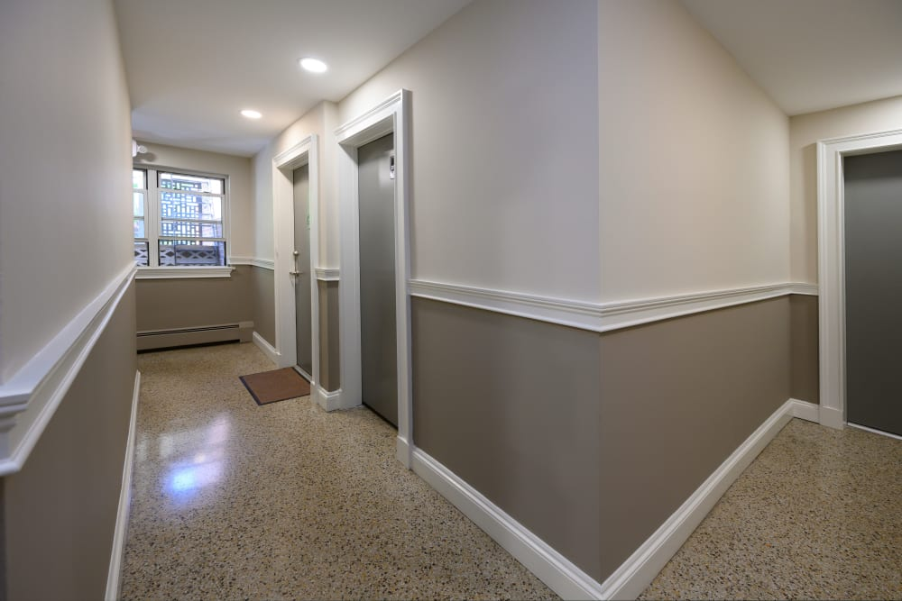 Hallway corner at Kennedy Apartments in Hackensack, New Jersey