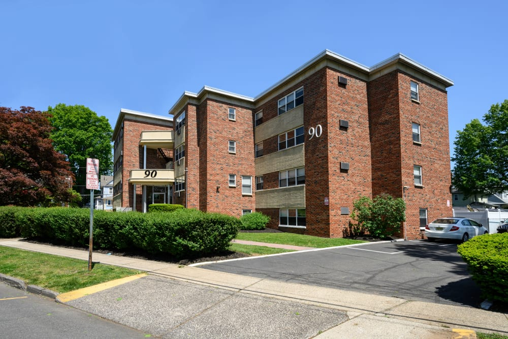 Exterior on a sunny day at Kennedy Apartments in Hackensack, New Jersey