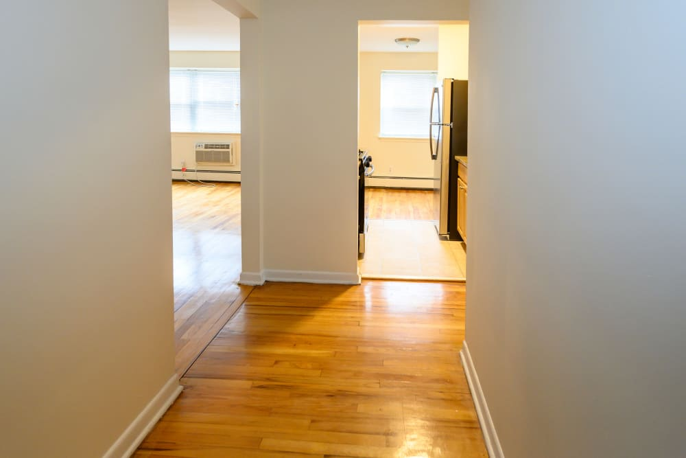 Hallway into kitchen at Kennedy Apartments in Hackensack, New Jersey