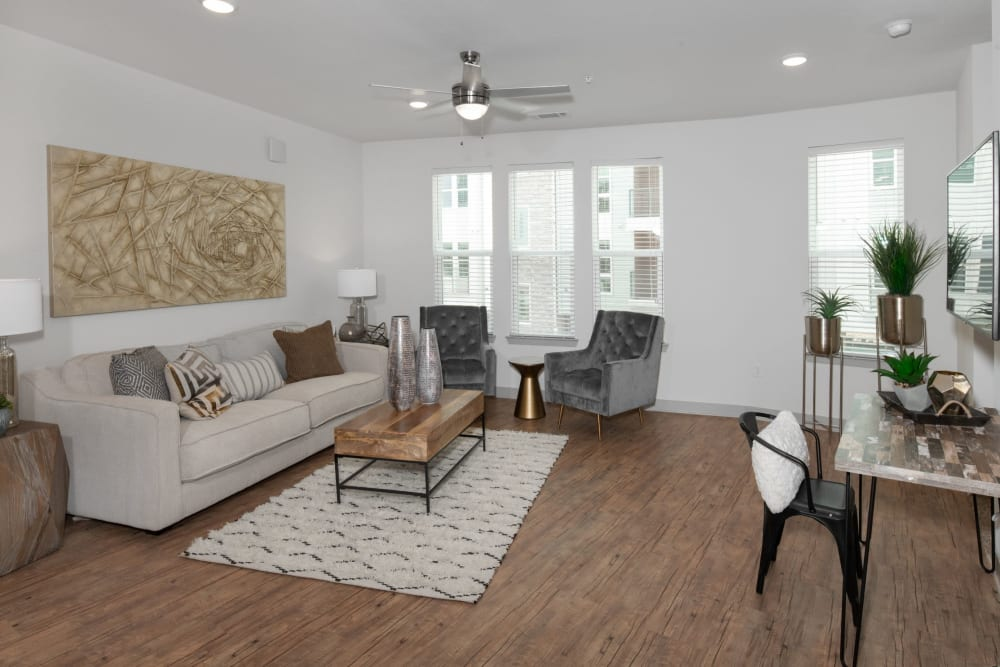 Cozy living room at Shelby at Northside in Fort Worth, Texas