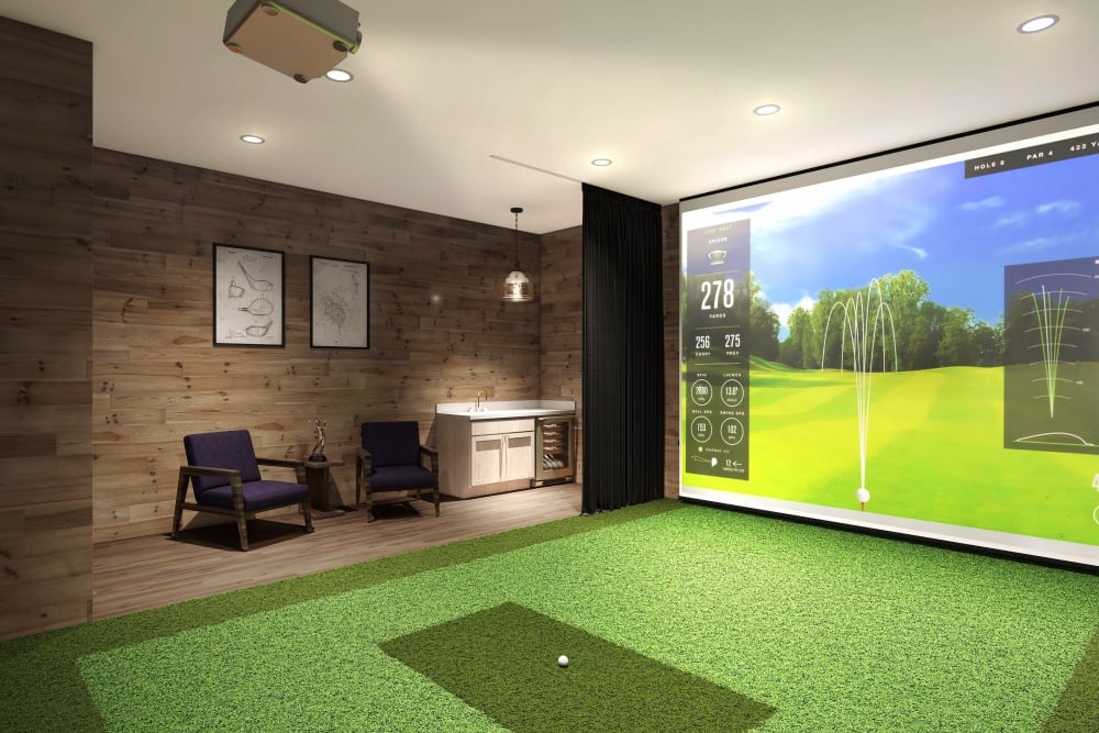 A golf simulator room at Anthology of Tuckahoe in Henrico, Virginia