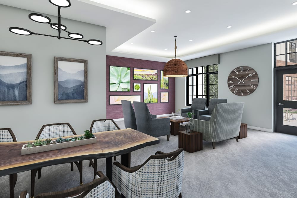 Dining room with big windows at Anthology of Tuckahoe - Opening Fall 2021 in Henrico, Virginia