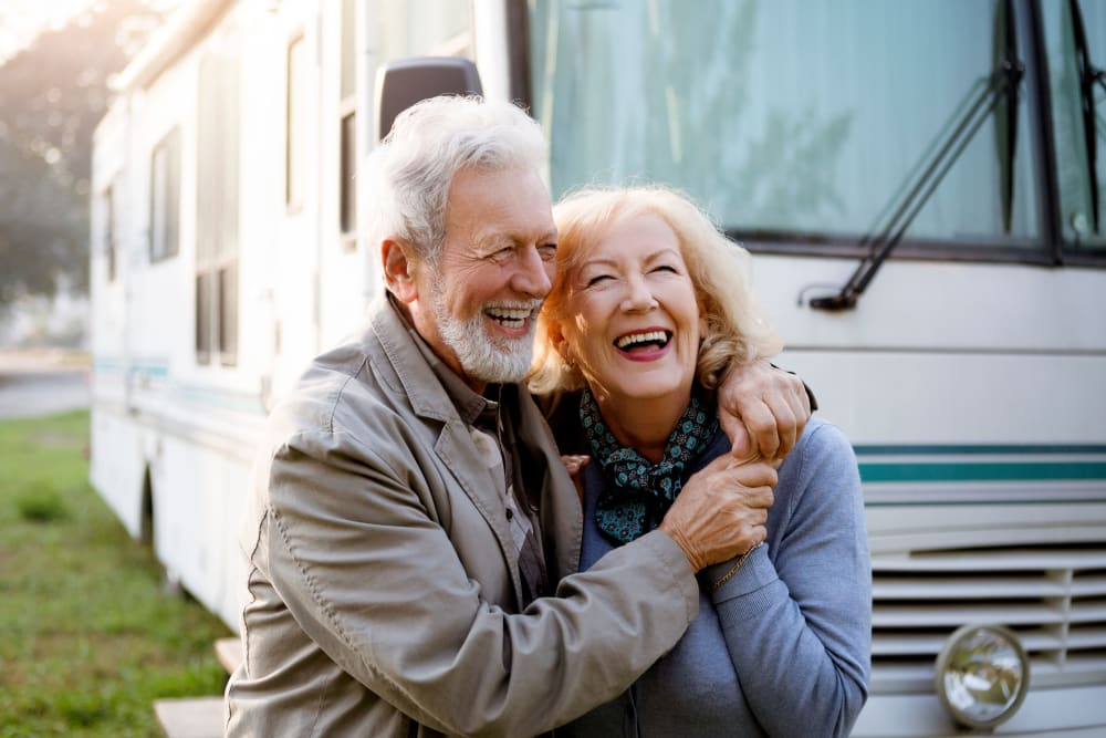 A couple with their RV at StayLock Storage in Mauldin, South Carolina