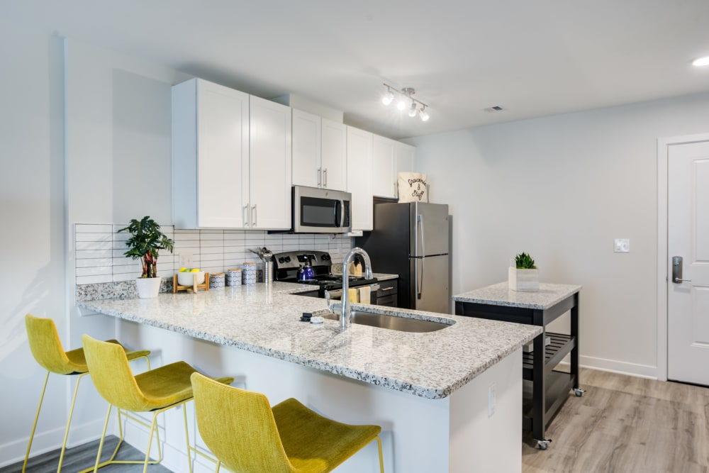 Model kitchen at Main Street Apartments in Rockville, Maryland