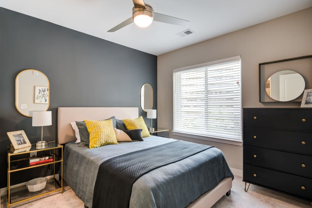 Model bedroom at Main Street Apartments in Rockville, Maryland