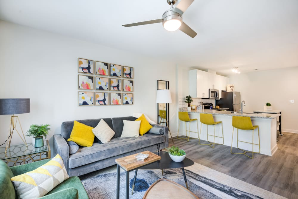 Model living room at Main Street Apartments in Rockville, Maryland