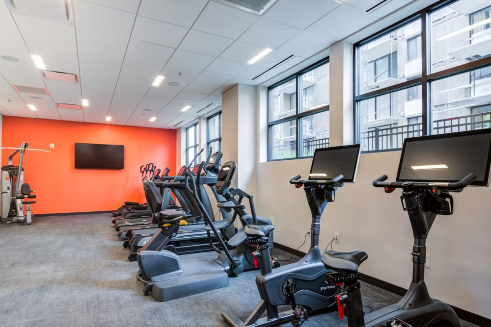 Fitness center at Main Street Apartments in Rockville, Maryland