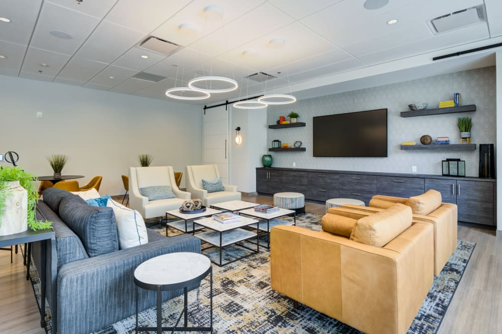 Clubhouse lounge at Main Street Apartments in Rockville, Maryland