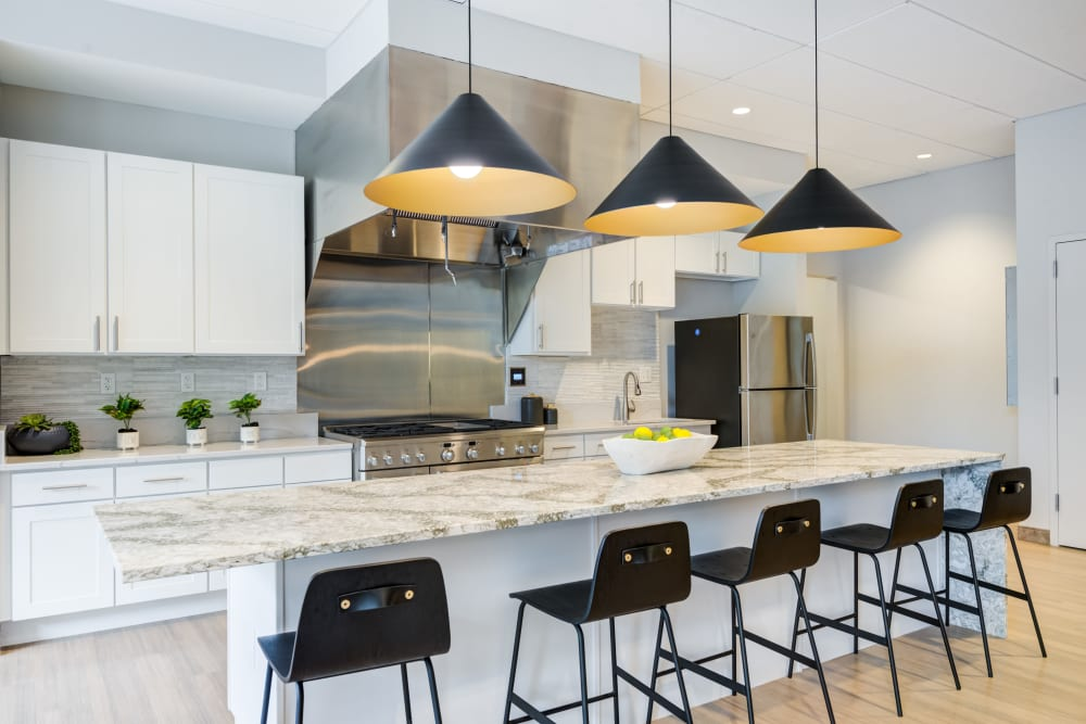 Clubhouse kitchen at Main Street Apartments in Rockville, Maryland