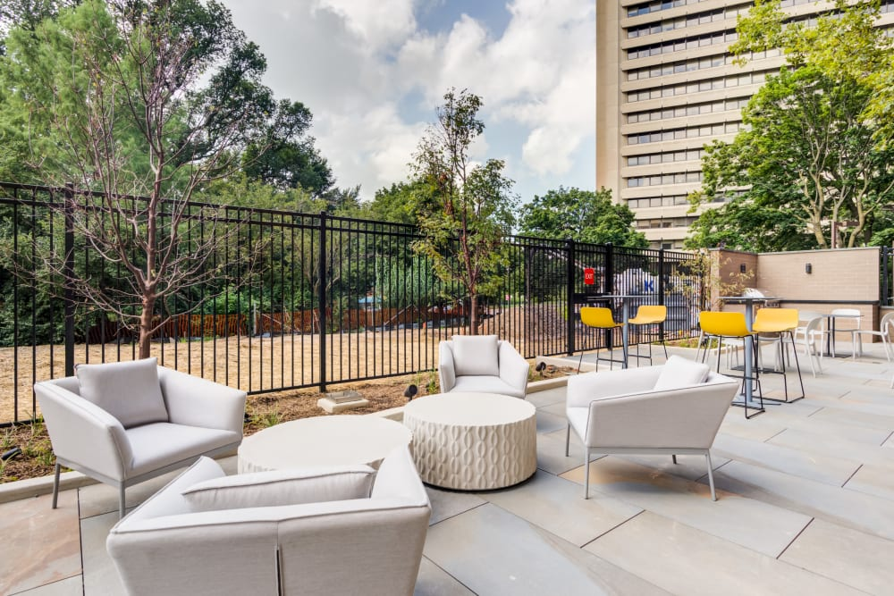 Outdoor community patio at Main Street Apartments in Rockville, Maryland