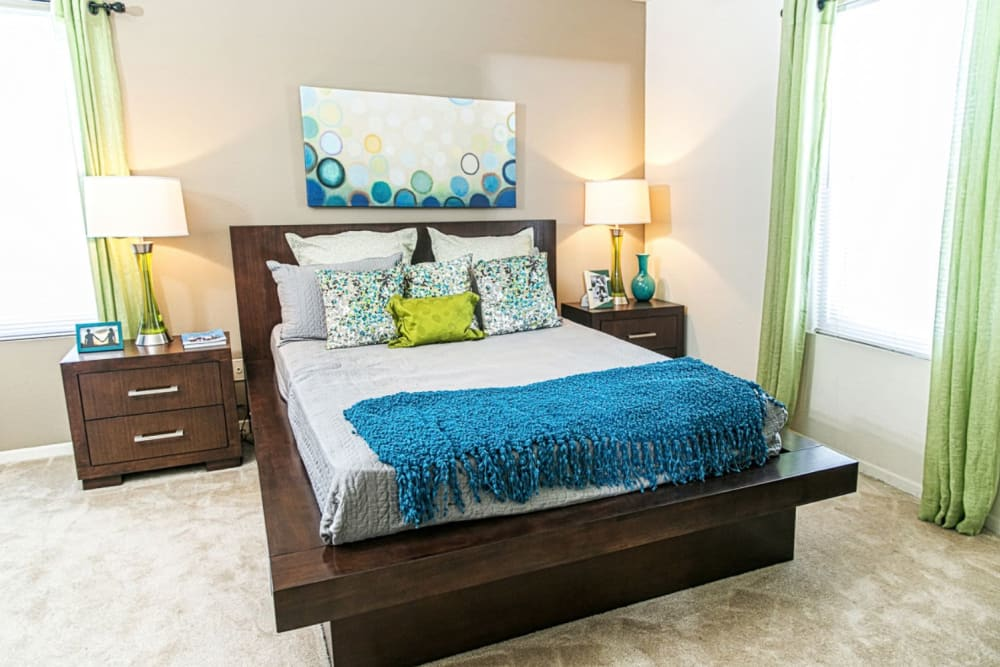 Cozy bedroom at The Views at Laurel Lakes in Laurel, Maryland