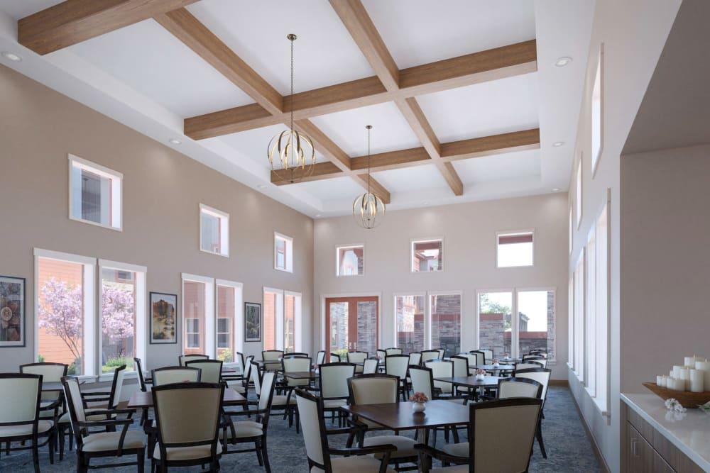 The dining room at Ativo Senior Living of Prescott Valley in Prescott Valley, Arizona