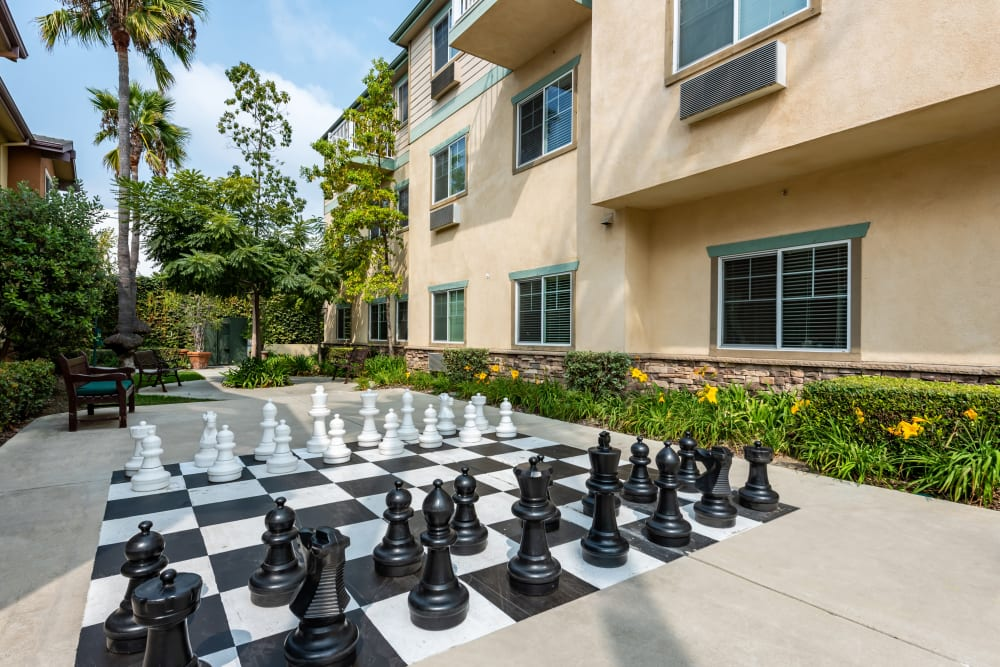 Outdoor large chess game at Cypress Place, Ventura in CA