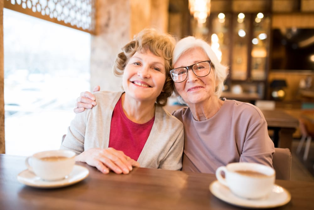 Friends gather for coffee at Arlington Place of Grundy Center in Grundy Center, Iowa