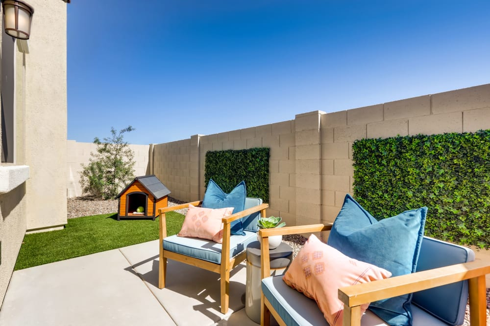 A spacious back patio for the pup at Avilla Lago in Peoria, Arizona