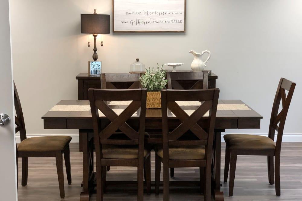 Dining room suite in resident apartment at Corridor Crossing Place in Cedar Rapids, Iowa
