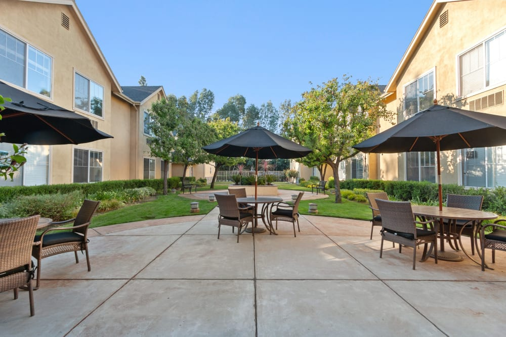 Outdoor patio and sitting area at Claremont Place in Claremont, California