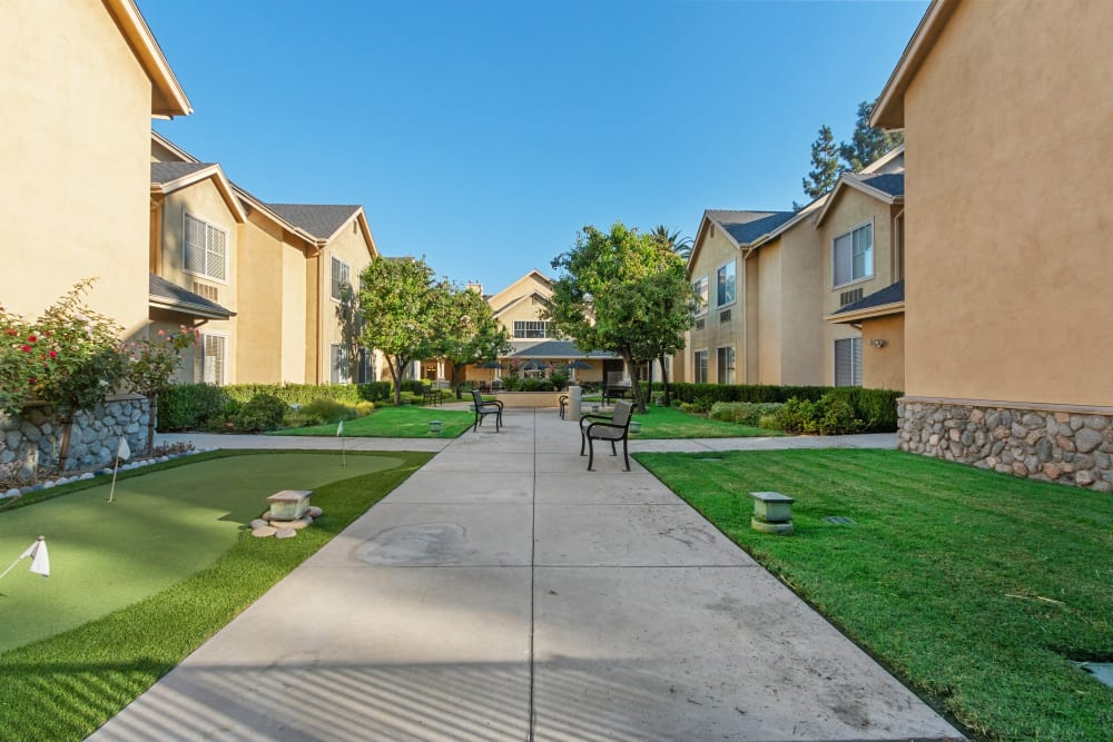 Walking paths at Claremont Place in Claremont, California