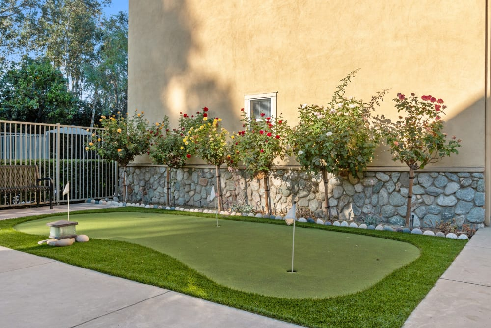 Outdoor putting green at Claremont Place in Claremont, California