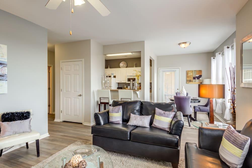 An open-concept floor plan at Alvadora Apartments in Lawrence, Kansas