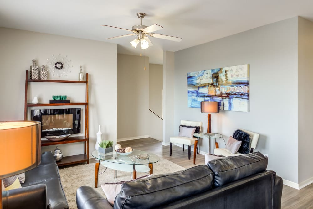 Living room with plenty of space for cabinets at Alvadora Apartments in Lawrence, Kansas