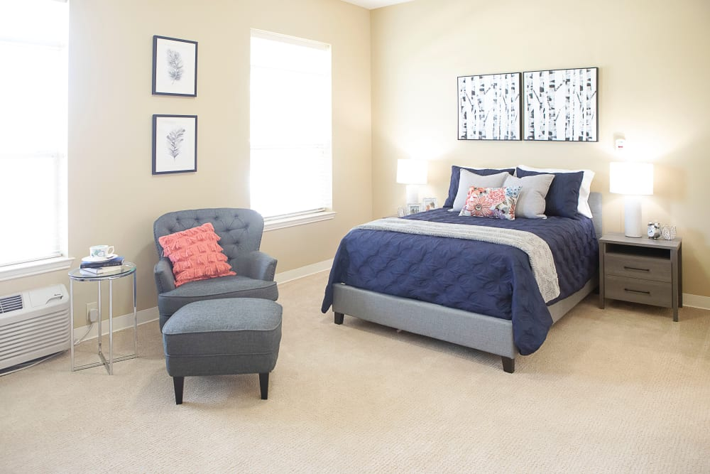 Resident bedroom at Legacy at Bear Creek in Keller, Texas.
