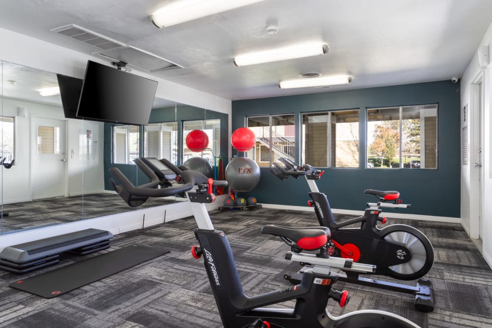 Fitness on Demand Room with Spin Bikes at Callaway Apartments in Taylorsville, Utah