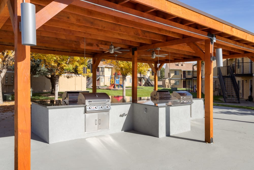 Covered Outdoor BBQ Area at Callaway Apartments in Taylorsville, Utah