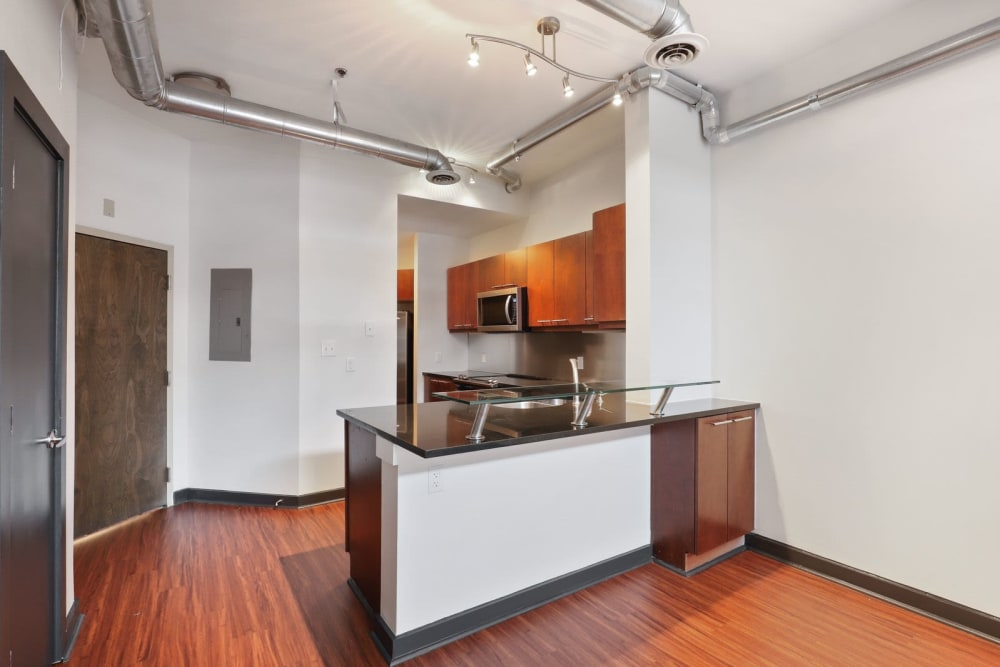 Kitchen with hardwood flooring at 17th Street Lofts in Atlanta, Georgia