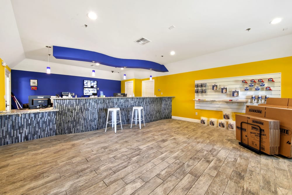 Leasing office interior with wood flooring at Storage Star in Napa, California