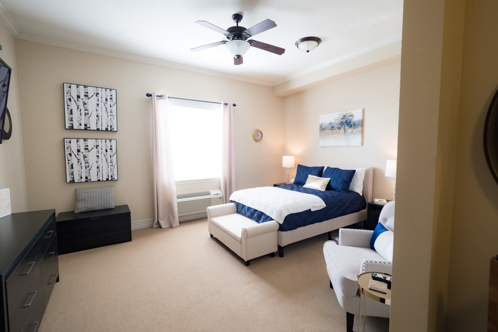 Resident bedroom at Legacy at Georgetown in Georgetown, Texas.