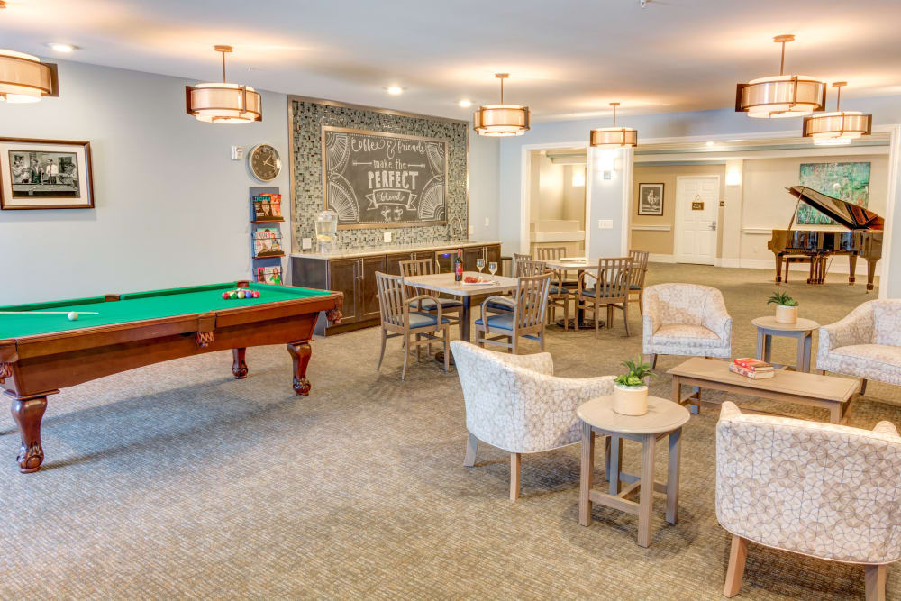 Pool table in activity room at Tranquillity at Fredericktowne in Frederick, Maryland