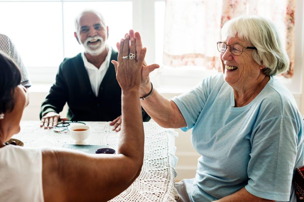 Residents talking at Golden Pond Retirement Community in Sacramento, California
