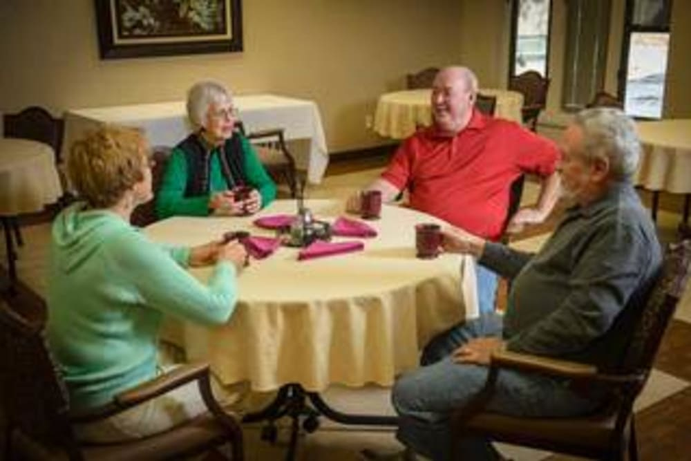 Seniors having coffee at Golden Pond Retirement Community in Sacramento, California