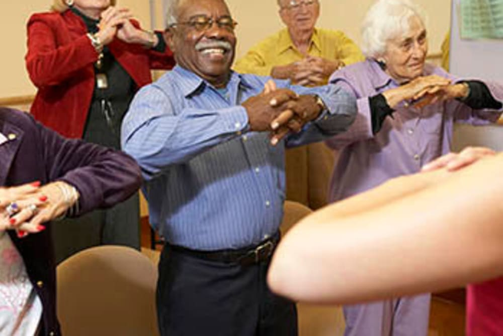 Senior exercise activities at Inglenook At Brighton in Brighton, Colorado
