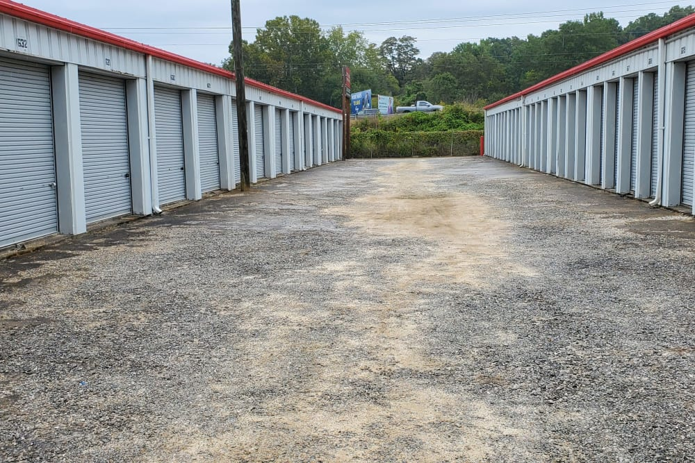 Wide driveway between units at StayLock Storage in Athens, Georgia