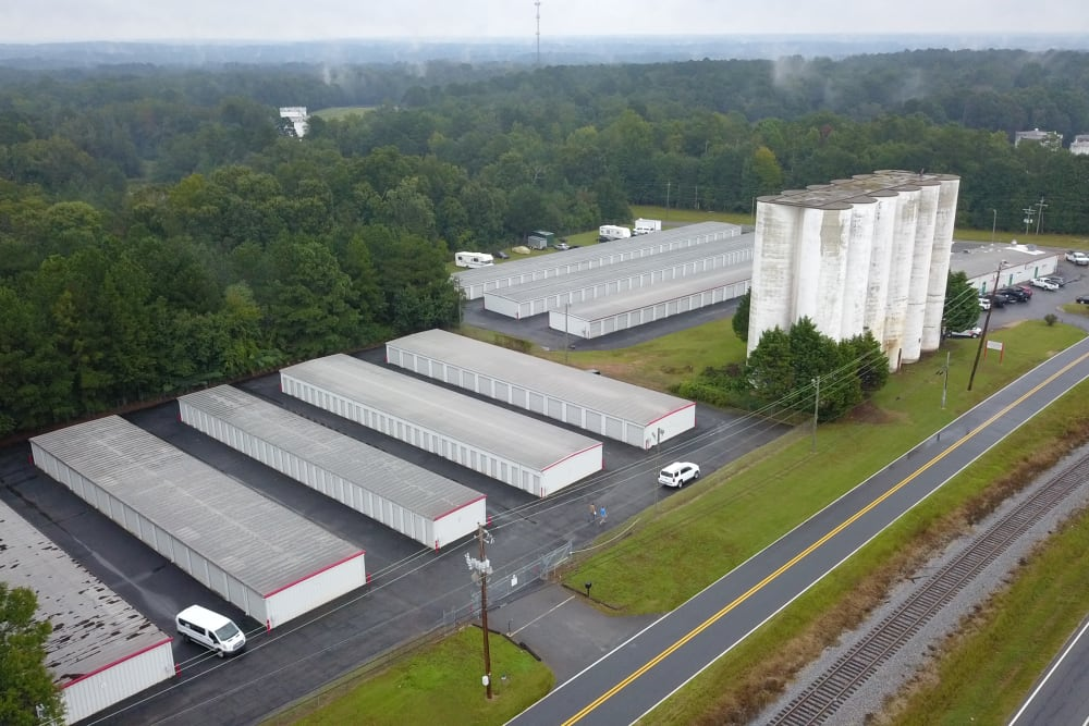 A view from the sky of StayLock Storage in Athens, Georgia