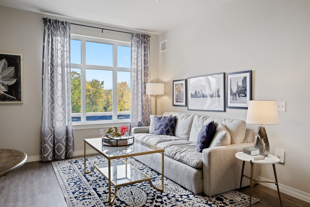 Apartment living area at Anthology of Novi- Now Open! in Novi, Michigan