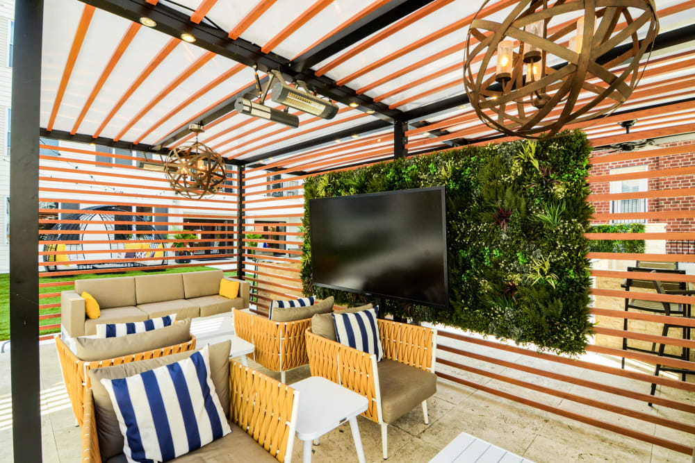 Outdoor Lounge Area with TV at Steelyard in St. Louis, Missouri
