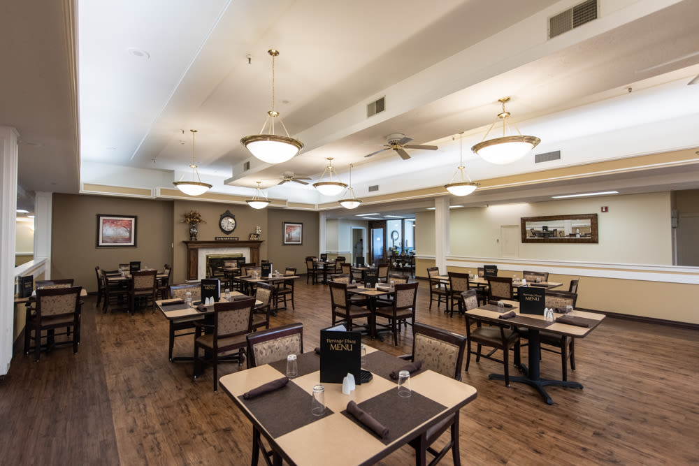 Large dining room at Heritage Place in Bountiful, Utah