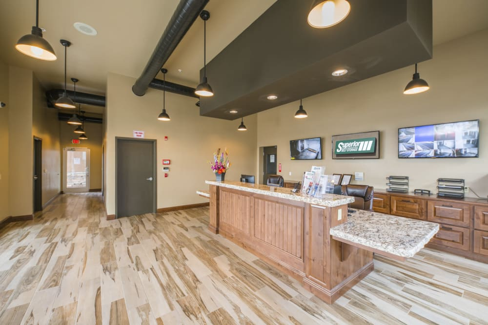 Inside of the office at Superior Boat, RV & Commercial Self Storage in Folsom, California
