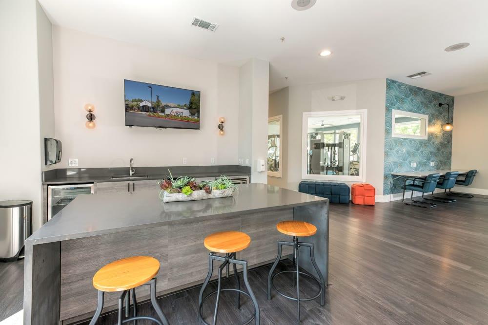 The common kitchen at Avion Apartments in Rancho Cordova, California