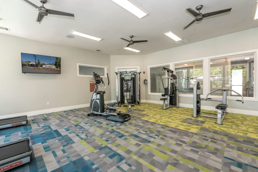 Clean, modern community gym at Avion Apartments in Rancho Cordova, California